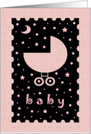 Baby Shower Card for Girl Baby - Cute Baby Buggy card