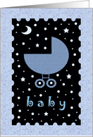 Baby Shower Card for boy Baby - Cute Baby Buggy card