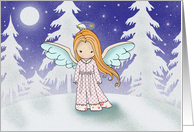 Angel by Moonlight Christmas Card