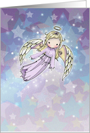 Christmas Angel Card - Little Lavender Angel in Stars card