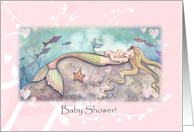 Baby Shower Invitation - Sweet Mother and Baby Mermaids card