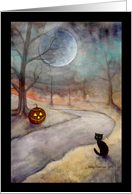 Halloween Black Cat and Jack-o-Lantern card
