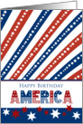 4th of July Happy Birthday America Red, White and Blue Stars card