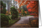 Thanksgiving - Park Path with Autumn Leaves card