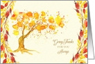 Thanksgiving Give Thanks Watercolor Tree and Briar Berries card