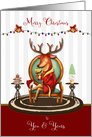 Merry Christmas The Buck Stops Here Holiday Reindeer card