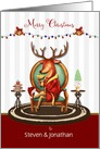 Merry Christmas Custom Add Name The Buck Stops Here Holiday Reindeer card