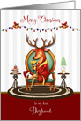 Christmas for Boyfriend The Buck Stops Here Holiday Reindeer card