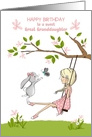 Happy Birthday Great Granddaughter Girl on Swing, Bunny and Butterfly card