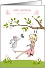 Happy Birthday Custom Name, Girl on Swing, Bunny and Butterfly card