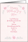 Mother's Day for Mom Pretty Pink Flowers card
