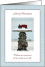 Merry Christmas ~ Red Tractor in the Snow card