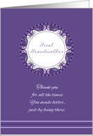 Mother's Day For Great Grandmother ~ Whimsical Lavender Medallion card