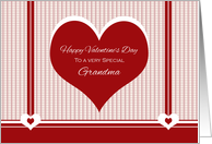Happy Valentine's Day for Grandma ~ Red and White Hearts card