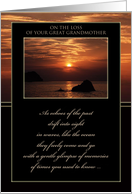 Sympathy Loss of Great Grandmother ~ Sunset Over the Ocean card