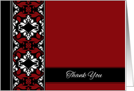 Thank You - Elegant Red and Black Damask card
