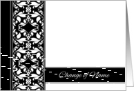 Change of Name Announcement - Elegant Black and White Damask card