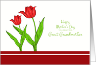 Mother's Day for Great Grandmother - Red Tulips card