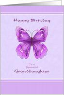 Happy Birthday for Granddaughter - Purple Butterfly card