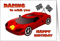 Happy 4th Birthday - Race Car card
