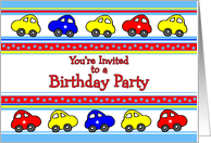 Cars and Stars Birthday Party Invitation card