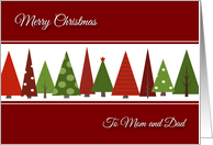 Merry Christmas for Mom and Dad - Festive Christmas Trees card