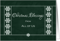 Christmas Blessings From All of Us - Snowflakes card