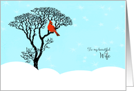 Christmas for Wife - Red Cardinal in Tree card