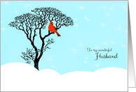 Christmas for Husband - Red Cardinal in Tree card