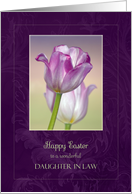 Easter for Daughter in Law ~ Pink Ribbon Tulips card