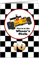Happy 10th Birthday Race Car Winner's Circle card