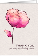 Thank You for being my Maid of Honor Watercolor Flower card