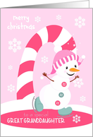 Christmas for Great Granddaughter Ice Skating Snowman card