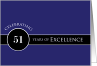 Business Employee Appreciation Celebrate 51 Years Blue Circle of Excellence card