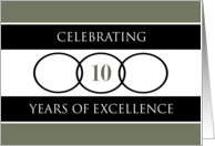 Business 10th Anniversary Green Circles of Excellence card