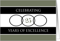 Business 25th Anniversary Green Circles of Excellence card