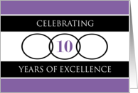 Business 10th Anniversary Purple Circles of Excellence card