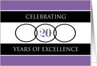 Business 20th Anniversary Purple Circles of Excellence card