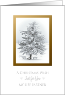 A Christmas Wish To Life Partner Snow Scene in the Country card