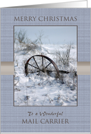 Merry Christmas to Mail Carrier ~ Farm Implement in the Snow card