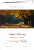 Thanksgiving Birthday to Cousin ~ What a Blessing Autumn Path card