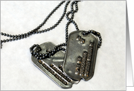 Dog tags, military service thanks card