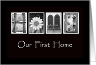 Our First Home - New Address - Announcement - Alphabet Art card
