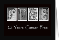 20 Years - Cancer Free - Anniversary - Alphabet Art card