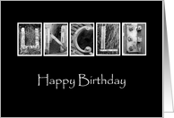 Uncle - Happy Birthday - Alphabet Art card