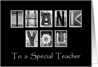To a Special Teacher - Thank You - Alphabet Art card