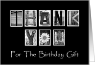 Birthday Gift Thank You - Alphabet Art card