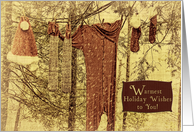 Warmest Holiday Wishes Santa's Costume on the Washing Line in Snow Vintage Look card