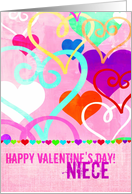 Brightly colored & textured Valentine's Day Hearts on Pink for Niece! card