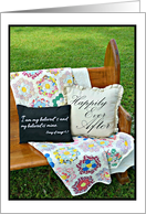Church pew with vintage blanket wedding day for son and his bride card